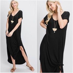 Boho Oversized Pocket V neck Slit Maxi Dress BLACK